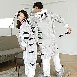 HOMEE Unisex Pijamas para Adultos - Peluche de una Pieza Cosplay Animal Traje Invierno Espesamiento Ocio,Gato,XL