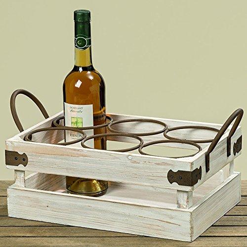 Flaschenhalter Hannes Holz/Metall weiß Länge 40 cm, f. Weinflaschen, Geschenk, Weinaufbewahrung