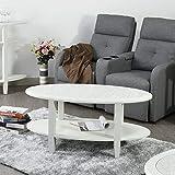 innovareds-uk Moderne ovale Double Layer Marmor Ende Tisch Wohnzimmer Couchtisch Pure weiß
