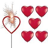Deko-Set Herz - Rote Riesen-Herz Wunderkerze + 5 Rote Herzballons Ø 25 cm - partydiscount24®