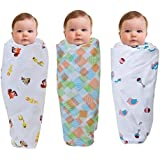 "Wonder Wee Premium Multipurpose Baby Swaddle Blanket / Wrap for Boy / Girl |Pink Toys/Square Lines/Yellow Animals | 100 % Cotton Soft and Smooth Muslin (MulMul) Fabric | Ideal for 0 - 24 Months | 2 Layered High Quality | Size 44"" x 44"" (XXL) 