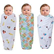 "Wonder Wee 2 Layered Baby Swaddle Blanket, 44"" x 44"", Pink Toys with Square Lines and Yellow Animals, Pack of 3"