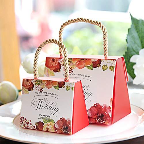 Lvcky, set da 30 scatole per confetti, motivo floreale, per bomboniere da matrimonio, con manico, in carta, decorative red(red )