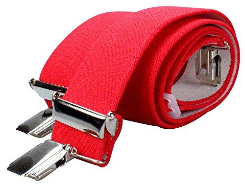 Alex Flittner Designs X Hosenträger mit 4 extra starken Clips 3,5cm breit für Damen und Herren in rot | Style 20