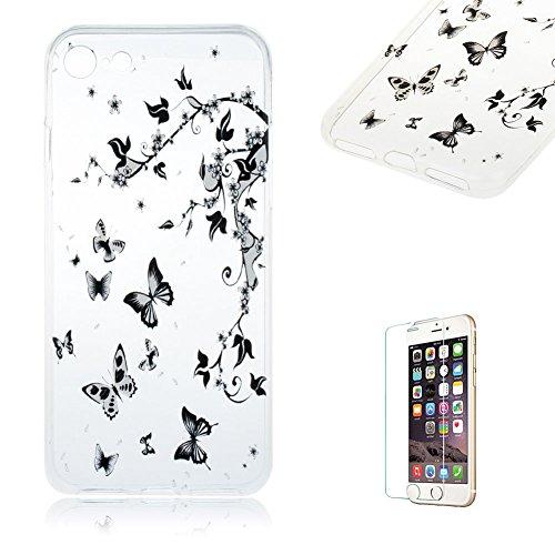 """Für iPhone 7 4.7"""" [Scratch-Resistant] Weichem Handytasche Weich Flexibel Silikon Hülle,Für iPhone 7 4.7"""" TPU Hülle Back Cover Schutzhülle Silikon Crystal Kirstall Durchschauen Clear Case,Funyye Ultra  Schwarz Schmetterling"""