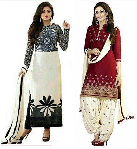 Sky Global Women's Printed Unstitched Regular Wear Salwar Suit Dress Material (Combo pack of 2)(SKY_501_Red)(SKY_523_Black&White)
