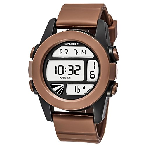 LCLrute Mode SYNOKE Multifunktions 50M wasserdichte Uhr LED Digital Double Action Watch (Kaffee)