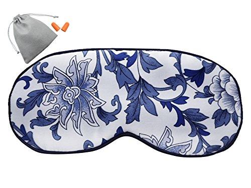 MSSilk Schlafmaske aus reiner Seide, extra groß, atmungsaktiv, mit Brokat-Aufbewahrungstasche und Ohrenstöpseln im Geschenk-Set