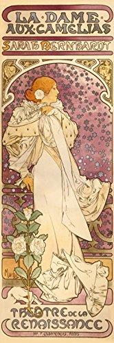 1art1 80528 Alphonse Mucha - Sarah Bernhardt, Die Kamelien-Dame, 1896 Poster Leinwandbild Auf Keilrahmen 150 x 50 cm