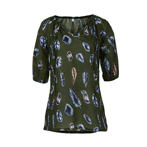 3e4cd207f266 OYSOHE Damen T-Shirt, Spitze Gedruckte Kurzarm V-Ausschnitt Tops Lose  T-Shirt Bluse (M, ZZ-Armeegrün)