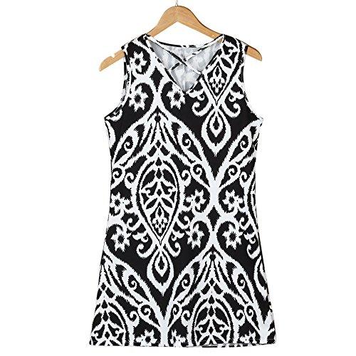 Storerine Bedrucktes Kleid, Eltern-Kind, Mutter& Me Mädchen Frauen Deep-V Lässige Elastic Sleeveless Print Minikleid ()