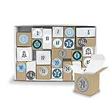 DIY itenga Adventskalender Komplettset V12 zum Selberbefüllen und Karton zum Aufstellen 24x Geschenkoxen aus Kraftkarton + ZahlenSticker (Motiv Z16 Blautöne klassisch)