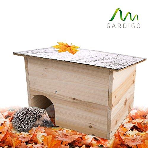 Galleria fotografica Gardigo casa per riccio con tetto apribile | Casetta per ricci in legno | Hedgehog House con ingresso labirinto | Riparo per porcospino perfetto per il letargo invernale
