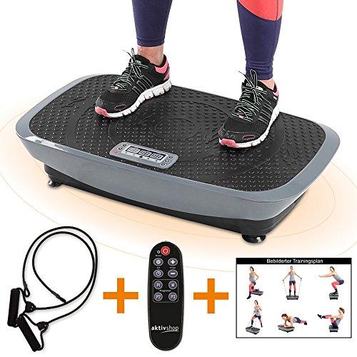 maxVitalis Vibrationsplatte Vibrationsgerät Vibrationstrainer inkl. Expanderbändern + Fernbedienung + Trainingsplan