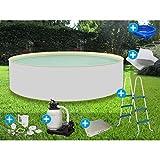 Premium Splash Pool rund 3,60 x 0,90m Sandfarben Komplettset Skimmerset Unterlegvlies Sandfilteranlage Leiter Kinderpool Planschbecken