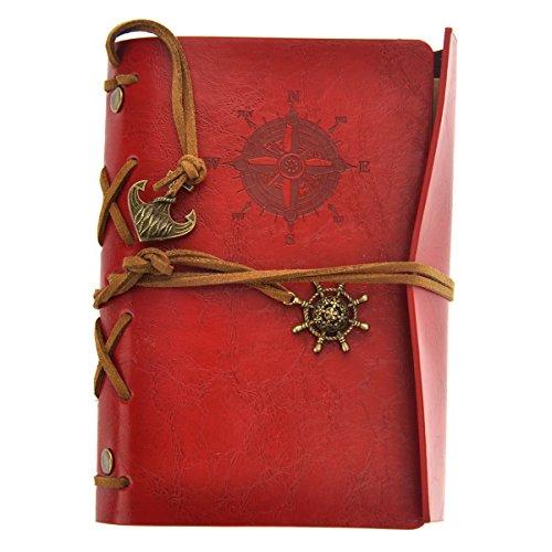 Tinksky Pirata Vintage retrò ancoraggio PU copertura fogli volanti stringa associato bianco Notebook Notepad Travel Journal diario Jotter