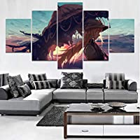 juntop Prints On Canvas Canvas Wall Art Posters Framework Hd Prints Paintings 5   Pieces Anime Touhou Umbrella Girl Pictures Home Decor For Living Room