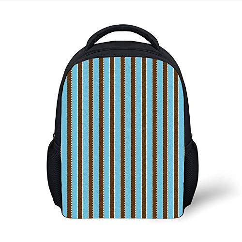 Kids School Backpack Aqua,White Blue Stripes Bold Lines Zig Zag Wavy Design Image Vintage Print,Dark Brown and Turquoise Plain Bookbag Travel Daypack -