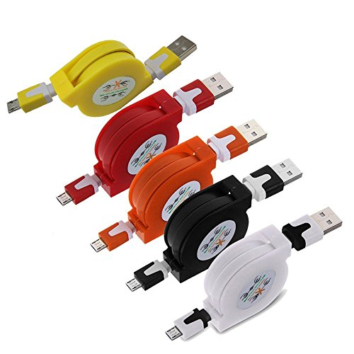 5Stück Multicolor ausziehbar Micro USB Flach Ladekabel/Datenkabel/Kabel für Android-Telefone (5x) - Bild 1