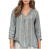 Wogo Women Blouse Striped Printed Long Sleeve V-Neck Cotton and Linen Loose Large Size Tops