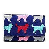 Miss Lulu Canvas Cat Dog Clutch Wallet Organiser Purse (Dog Navy)