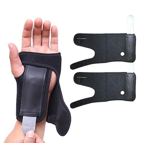 Soporte de muñeca con férula, KIROLAK Estiramientos de artritis Strain Hand Brace con Splint extraíble para la seguridad y la recuperación del deporte - Conjunto de 2 piezas