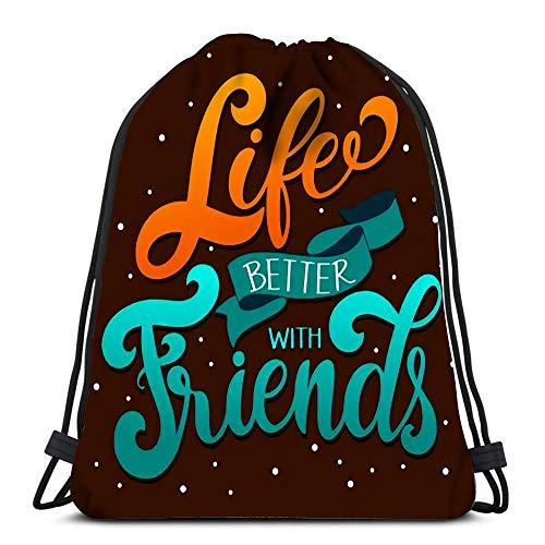 Kkyoxdiy Backpack Drawstring Bag Friendship Day Lettering