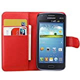 Tasche für Samsung Galaxy Core I8260 / Core Duos I8262 (4.3 zoll) Hülle, Ycloud PU Ledertasche Flip Cover Wallet Case Handyhülle mit Stand Function Credit Card Slots Bookstyle Purse Design rote