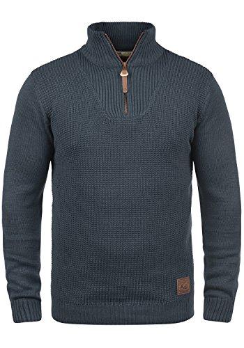 !Solid Tommy Herren Strickpullover Troyer Feinstrick Pullover Mit Stehkragen und Reißverschluss, Größe:XL, Farbe:Insignia Blue Melange (8991)