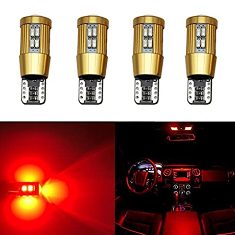 Ralbay 4 pcs T10 5630 Rouge 22SMD Canbus sans erreur ampoules à LED Chips Wedge Light Lamp 501 147 152 158 159 161 168 194 2825
