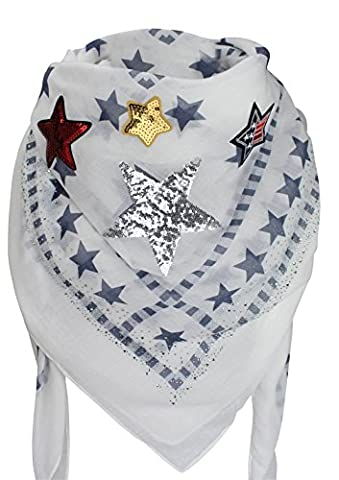 XXL PATCHES Damen STICKER STERN STRASS Karo Schal Tuch Deckenschal Karoschal Halstuch Fashion Plaid