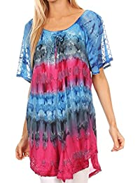 Sakkas Monet Long Tall Tie Dye Ombre Embroidered Cap Sleeve Blouse Shirt Top