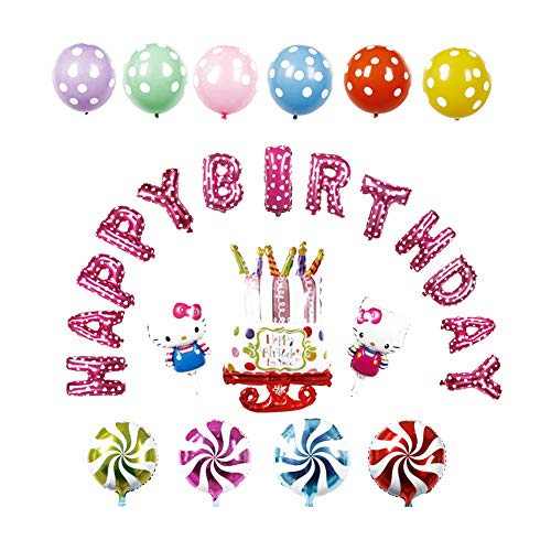 Hello Kitty Mehrfarbige Buchstaben Happy Birthday Folienballons Aluminium Geburtstag Ballon Party Dekorationen Supplies