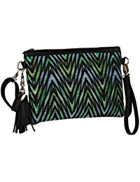 """SIX """"Trend"""" elegante Damenhandtasche mit grafischem Muster aus gewebtem Stroh in grün und blau, Clutch mit Quaste Tassel und goldenem Herz (463-119)"""