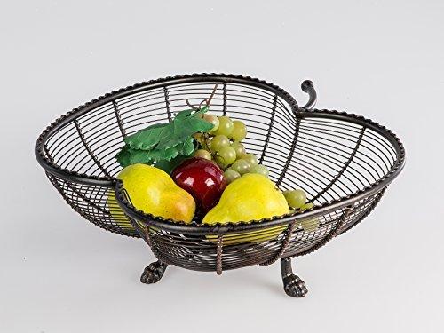 Coupe à fruits POMME à 3 pieds - 100% MÉTAL - 32 cm