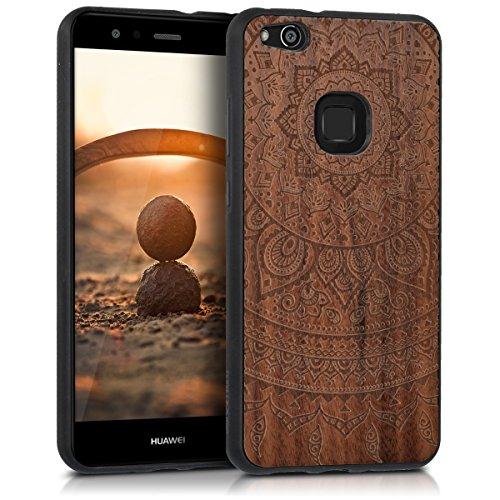 kwmobile Holz Schutzhülle für Huawei P10 Lite - Hardcase Hülle mit TPU Bumper Walnussholz in Indische Sonne Design Dunkelbraun - Handy Case Cover
