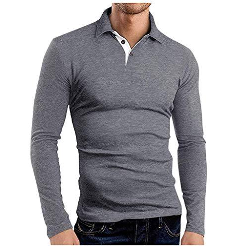 Polo da Uomo Manica Lunga Maglietta Cotone Cuciture in Denim Collare Casuale Polo Shirt Camicia Golf T-Shirt Maglia Maniche Lunghe Uomo Manica Lunga Uomo Magliette Bianche Uomo