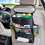 Kurtzy Car Back Seat Organiser with Multi-Pocket Travel Bottle Drinks Tissue Storage Holder with Cool Hot Thermal Insulation Aluminium Foil Cooler Bag