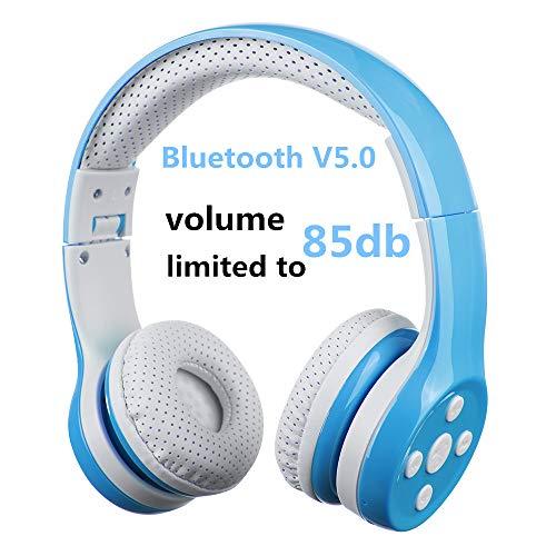 Auriculares Bluetooth para niños, Hisonic Auriculares Plegable para niños con Volumen Limitado Compatible con iPhone,iPad Mini, iPad,PC,MP3 y más Dispositivos Bluetooth, niños (Azul)