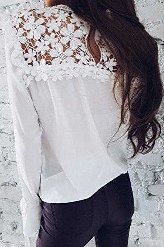 Le Donne Casuale Semplice Pizzo Chiffon Camicia Manica Lunga Mosaico Sopra Tee Camicetta White
