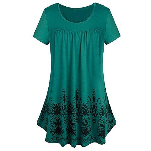 ESAILQ Frauen Solide Reihe Falten Rüschen Geraffte Oansatz Kurzarm Unregelmäßige T-Shirt (S, Grün-Z)