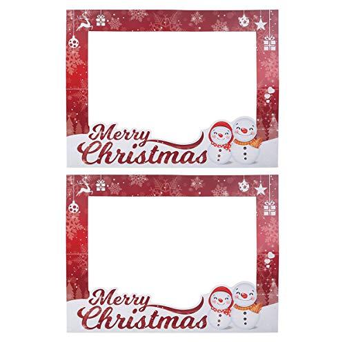 BESTOYARD 2PC Christmas Prop Picture Frame DIY Selfie Cornice Celebration Blow Up Puntelli del partito per vacanze di Natale Photo Booth Decorations