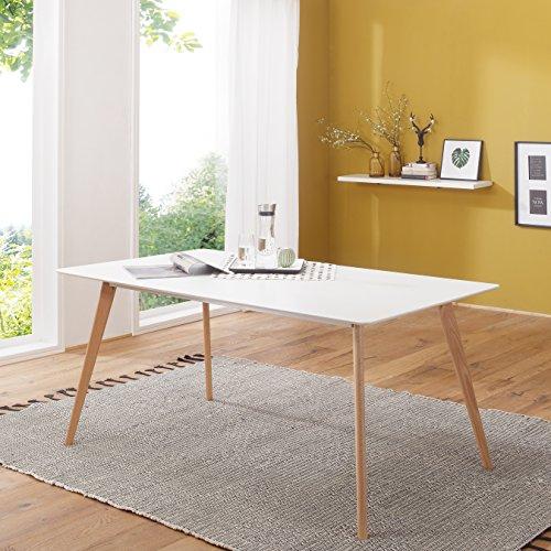FineBuy Retro Esstisch 120 x 80 x 75 cm MDF Weiß Matt Füße Eiche