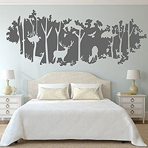 Adesivo decalcomania della parete grande foresta siluette pareti dipinte con i cervi di legno verniciati , dark gray - Sagoma Border