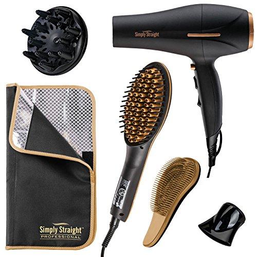 Genius Simply Straight Professional Keramik Haar-Glätt-Bürste | inkl. Haartrockner-Föhn | 6 Teile | 2 in 1 Glätteisen und Bürste | Bekannt aus TV | NEU