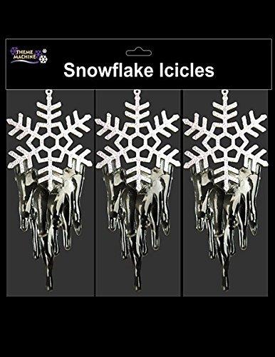 Packung mit 3 Schneeflocke hängend Eiszapfen Dekoration - Weiss & Klar - Einzigartige - Schneeflocken Thema Gefroren