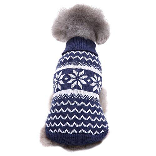 YiJee Haustier Hund Halloween Gestrickte Pullover Kleine Hundchen Warme Schlank Kleidung Dunkel Blau L (Dunklen Hund Halloween-kostüm)