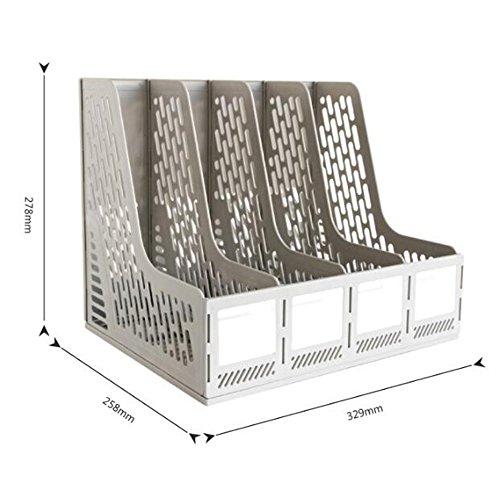 Vertikaler Multifunktions-Dateihalter Büro-Schreibtisch-Regal Vier Bar-Datei-Korb-Büro-Datei-Bar-Datei-Regal Großraum-Kunststoff-Aufbewahrungsbox (Farbe : Grau) (Aktenschrank Körbe)
