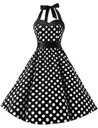 50ecf34f44e Vintage Kleid Ärmellos Sommerkleider 50er Retro Damen Gepunktet Rockabilly  Partykleider Ballkleid 1950er Cocktailkleid Schwingen Kleider Faltenrock