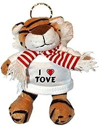 Tigre de peluche (llavero) con Amo Tove en la camiseta (nombre de pila/apellido/apodo)